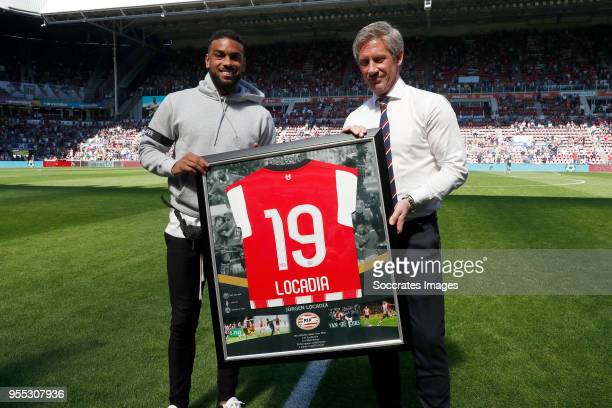 Jurgen Locadia Marcel Brands of PSV during the Dutch Eredivisie match between PSV v FC Groningen at the Philips Stadium on May 6 2018 in Eindhoven...