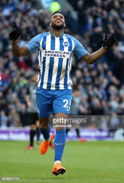 Jurgen Locadia of Brighton and Hove Albion celebrates scoring his side's first goal during the The Emirates FA Cup Fifth Round between Brighton and...
