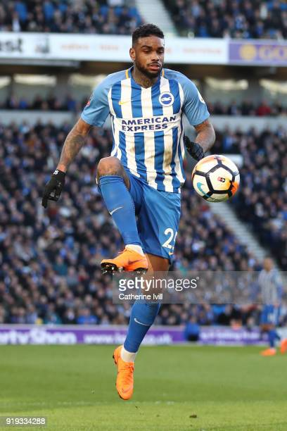 Jurgen Locadia of Brighton and Hove Albion controls the ball during the The Emirates FA Cup Fifth Round between Brighton and Hove Albion v Coventry...