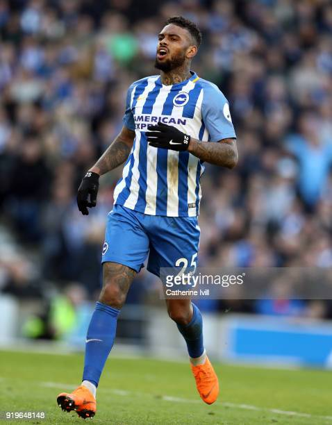 Jurgen Locadia of Brighton and Hove Albion during the Emirates FA Cup Fifth Round match between Brighton and Hove Albion and Coventry City at Amex...
