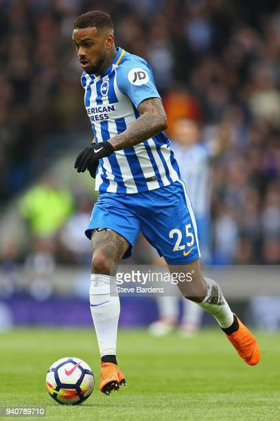 Jurgen Locadia of Brighton and Hove Albion in action during the Premier League match between Brighton and Hove Albion and Leicester City at Amex...