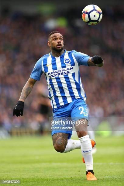 Jurgen Locadia of Brighton and Hove Albion looks to control the ball during the Premier League match between Brighton and Hove Albion and Leicester...