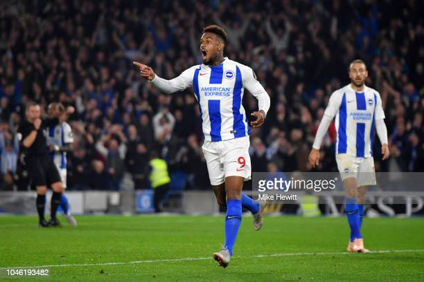 Jurgen Locadia of Brighton and Hove Albion reacts after his goal is disallowed during the Premier League match between Brighton Hove Albion and West...