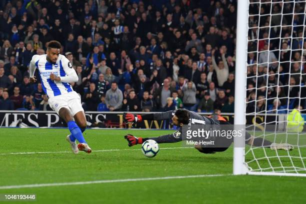 Jurgen Locadia of Brighton and Hove Albion scores but the goal is disallowed during the Premier League match between Brighton Hove Albion and West...