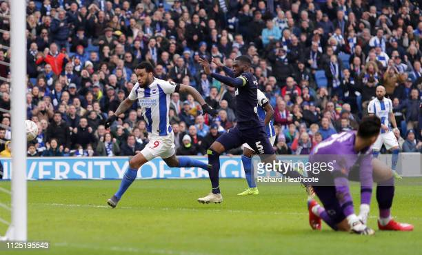 Jurgen Locadia of Brighton and Hove Albion scores his team's second goal during the FA Cup Fifth Round match between Brighton and Hove Albion and...