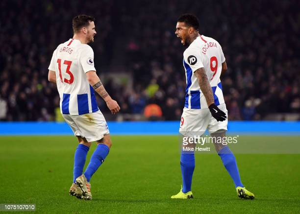 Jurgen Locadia of Brighton Hove Albion celebrates after scoring his team's first goal Pascal Gross of Brighton Hove Albion during the Premier League...