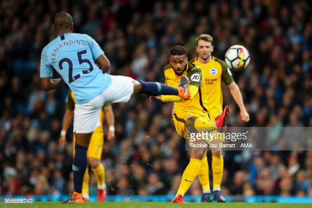 Jurgen Locadia of Brighton Hove Albion has a shot at goal during the Premier League match between Manchester City and Brighton and Hove Albion at...