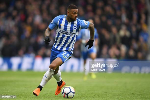 Jurgen Locadia of Brighton Hove Albion in action during the Premier League match between Brighton and Hove Albion and Leicester City at Amex Stadium...