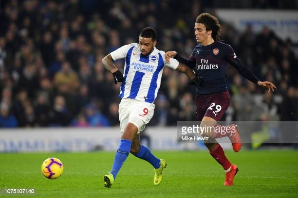 Jurgen Locadia of Brighton Hove Albion scores his team's first goal during the Premier League match between Brighton Hove Albion and Arsenal FC at...