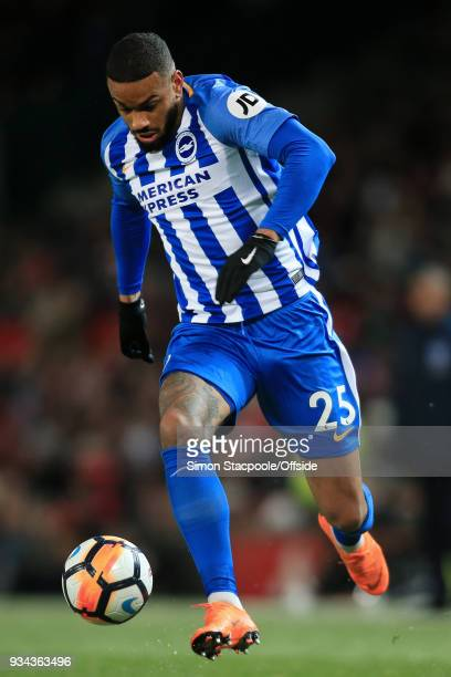 Jurgen Locadia of Brighton in action during The Emirates FA Cup Quarter Final match between Manchester United and Brighton and Hove Albion at Old...