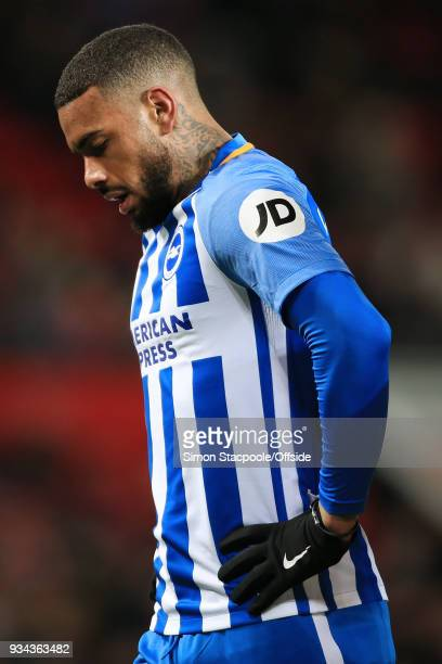 Jurgen Locadia of Brighton looks dejected during The Emirates FA Cup Quarter Final match between Manchester United and Brighton and Hove Albion at...