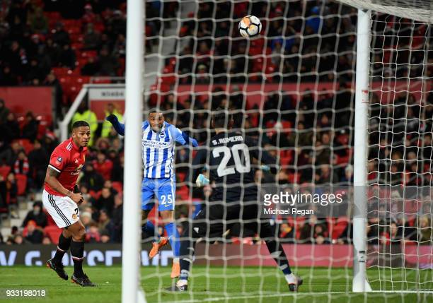 Jurgen Locadia of Brighton sees his chance go over the bar during the Emirates FA Cup Quarter Final between Manchester United and Brighton Hove...