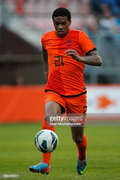 Jurgen Locadia of Netherlands in action during the International friendly match between Netherlands U21's and Australia U21's at Unive Stadium on May...
