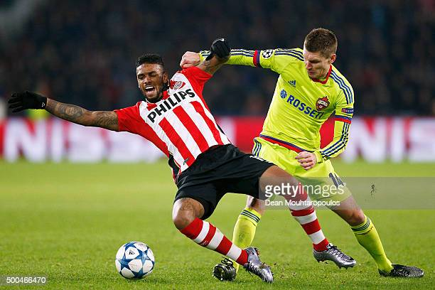 Jurgen Locadia of PSV is tackled and fouled by Kirill Nababkin of CSKA during the group B UEFA Champions League match between PSV Eindhoven and CSKA...