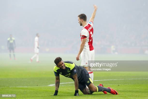 Jurgen Locadia of PSV Joel Veltman of Ajax during the Dutch Eredivisie match between Ajax v PSV at the Johan Cruijff Arena on December 10 2017 in...