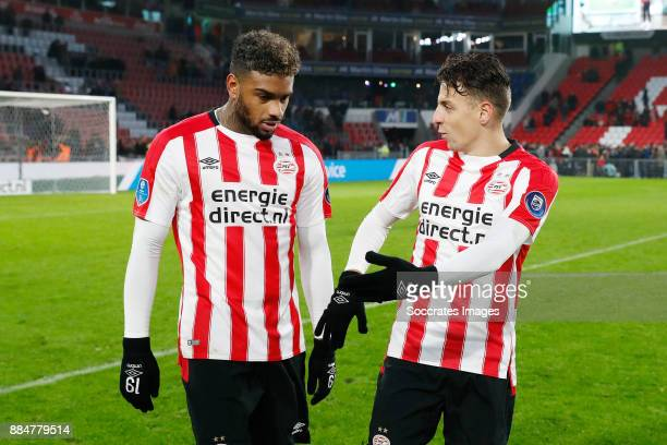 Jurgen Locadia of PSV Santiago Arias of PSV during the Dutch Eredivisie match between PSV v Sparta at the Philips Stadium on December 3 2017 in...
