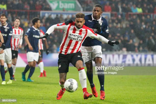 Jurgen Locadia of PSV Sherel Floranus of Sparta Rotterdam during the Dutch Eredivisie match between PSV v Sparta at the Philips Stadium on December 3...