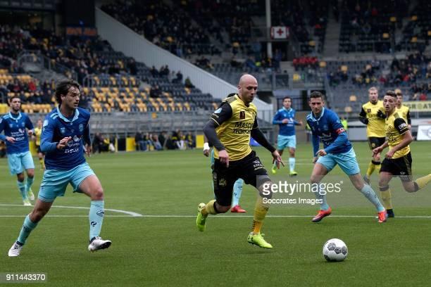 Jurgen Mattheij of Excelsior Dani Schahin of Roda JC Luigi Bruins of Excelsior Donis Avdijaj of Roda JC during the Dutch Eredivisie match between...