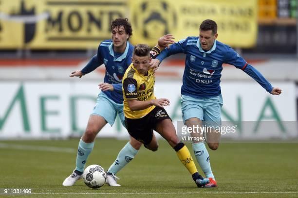 Jurgen Mattheij of Excelsior Donis Avdijaj of Roda JC Luigi Bruins of Excelsior during the Dutch Eredivisie match between Roda JC Kerkrade and sbv...