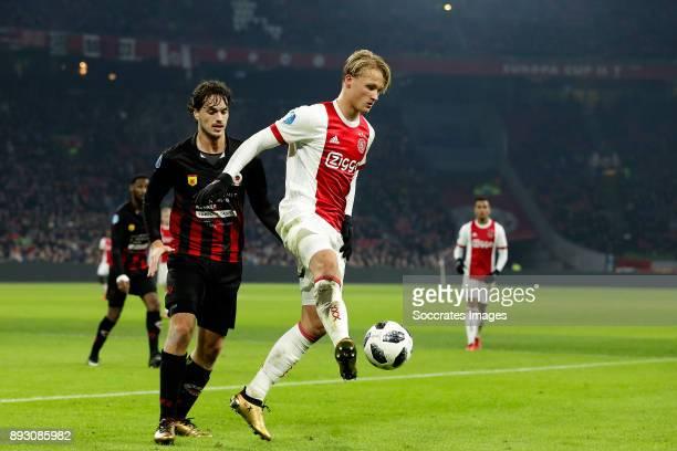 Jurgen Mattheij of Excelsior Kasper Dolberg of Ajax during the Dutch Eredivisie match between Ajax v Excelsior at the Johan Cruijff Arena on December...