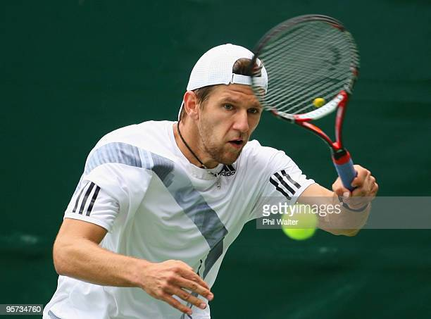 Jurgen Melzer of Austria plays a forehand during his second round match against Sebastien Grosjean of France on day three of the Heineken Open at the...