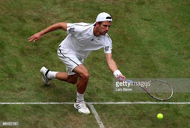 Jurgen Melzer of Austria plays a forhand during his quarterfinal match against Novak Djokovic of Serbia on day 5 of the Gerry Weber Open at the Gerry...
