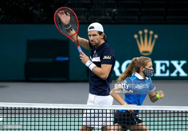 Jurgen Melzer of Austria reacts during the doubles semifinal on day 6 of the Rolex Paris Masters, an ATP Masters 1000 tournament held behind closed...