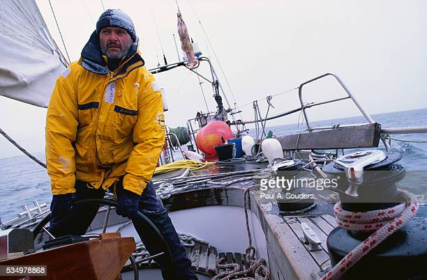 jurgen straub steering sailboat - sailor stock pictures, royalty-free photos & images