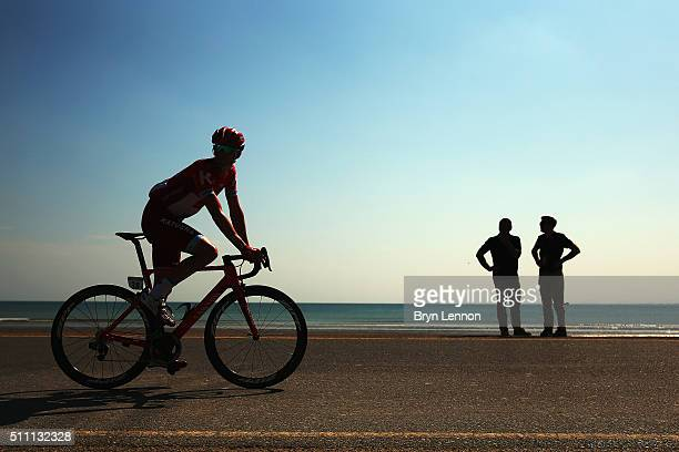 Jurgen Van den Broeck of Belgium and Team Katusha rides to the start of stage three of the 2016 Tour of Oman, a 176.5km road stage from Al Sawadi...