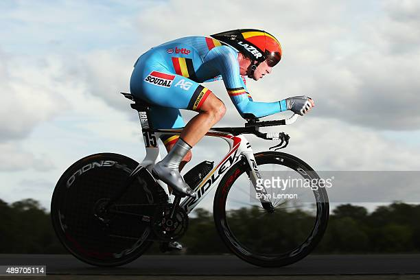 Jurgen van den Broeck of Belgium in action during the Elite Men Time Trial on day five of the UCI Road World Championships on September 23, 2015 in...