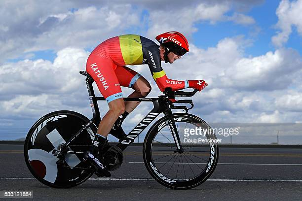 Jurgen van den Broeck of Belgium riding for Team Katusha races to ninth place in the individual time trial during stage six of the 2016 Amgen Tour of...