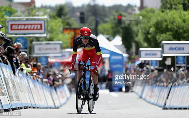 Jurgen van den Broeck of Belgium riding for Team Katusha rides in the individual time trial during Stage 6 of the Amgen Tour of California on May 20,...