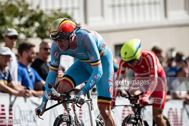 Jurgen Van Den Broeck riding for the Belgian National Team passes Christopher Juul Jensen riding for the Denmark National Team on the final climb of...