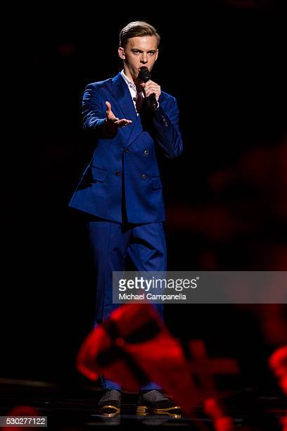 Juri Pootsmann of Estonia performs the song 'Play' during the semifinals of the 2016 Eurovision Song Contest at Ericsson Globe Arena on May 10 2016...
