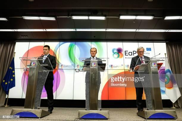 Juri Ratas Estonia's prime minister from left Donald Tusk president of the European Union and JeanClaude Juncker president of the European Commission...