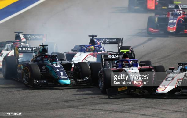 Juri Vips of Estonia and DAMS , Pedro Piquet of Brazil and Charouz Racing System and Christian Lundgaard of Denmark and ART Grand Prix crash at the...
