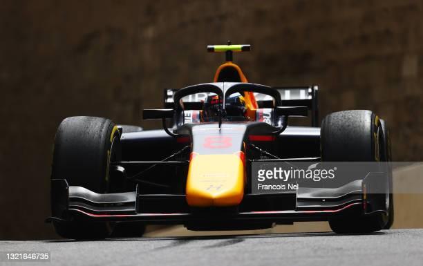 Juri Vips of Estonia and Hitech Grand Prix drives on track during practice ahead of Round 3:Baku of the Formula 2 Championship at Baku City Circuit...