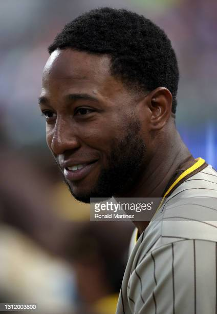 Jurickson Profar of the San Diego Padres in the seventh inning at Globe Life Field on April 11, 2021 in Arlington, Texas.