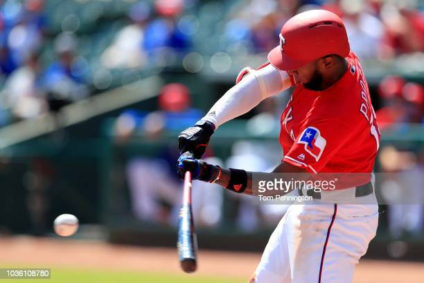 Jurickson Profar of the Texas Rangers at bat against the Tampa Bay Rays in the bottom of the second inning at Globe Life Park in Arlington on...