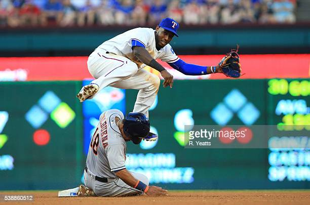 Jurickson Profar of the Texas Rangers makes the out on Luis Valbuena of the Houston Astros in the fourth inning at Globe Life Park in Arlington on...