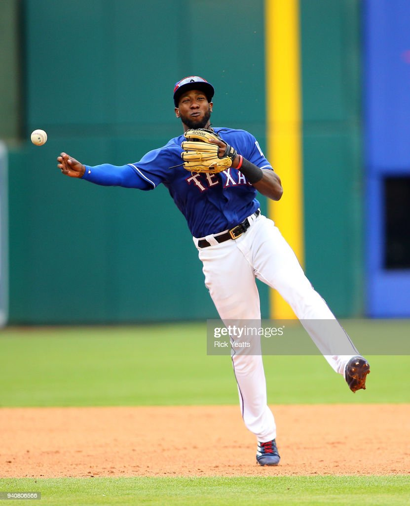 Jurickson Profar #19 of the Texas Rangers throws to second base against the Houston Astros in the ninth inning at Globe Life Park in Arlington on April 1, 2018 in Arlington, Texas.