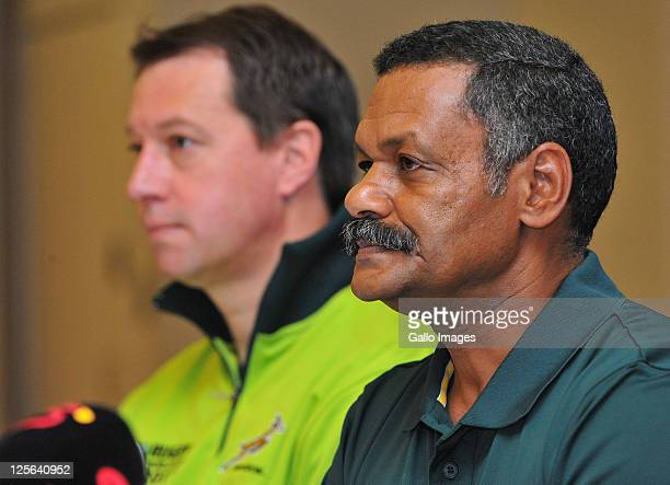 Jurie Roux and Peter de Villiers during the South African national rugby team announcement press conference at Bayview Wairakei Resort on September...