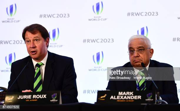 Jurie Roux CEO of SA Rugby and Mark Alexander CEO of SA Rugby speak at a press conference following the Rugby World Cup 2023 Host Decision at Royal...