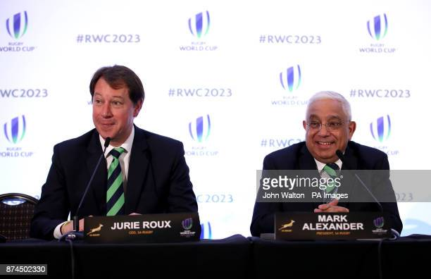 Jurie Roux Chief Executive of SA Rugby and Mark Alexander President SA Rugby during the 2023 Rugby World Cup host union announcement at The Royal...