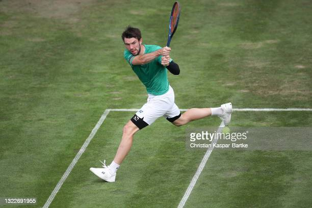 Jurij Rodionov of Austria plays a forehand during his match against Dominik Koepfer of Germany during day 3 of the MercedesCup at Tennisclub...