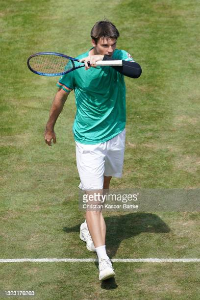 Jurij Rodionov of Austria reacts during his half-final match against Marin Cilic of Croatia during day 6 of the MercedesCup at Tennisclub Weissenhof...