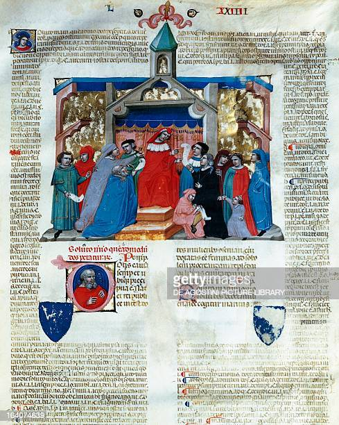 Jurist delivering his response from the chair, miniature from Corpus Juris Civilis, by Justinian I of Byzantium , IV 2 S manuscript, parchment, ca...