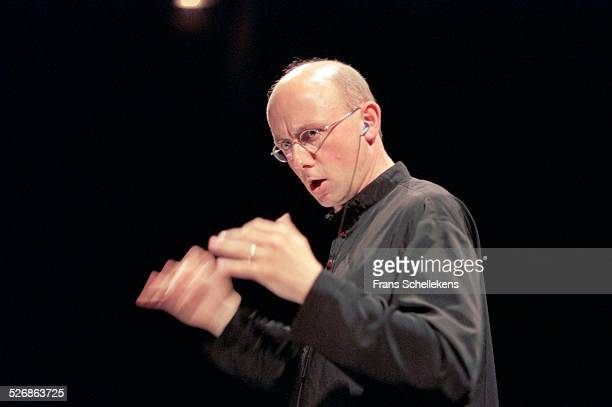 Jurjen Hempel, conducts Volharding Orchestra in Forum des Halles on June 6th 1999 in Paris, France.