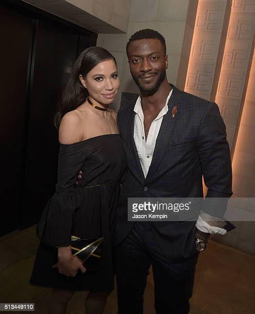Jurnee SmollettBell and Aldis Hodge attend the after party for the premiere of WGN America's Underground at The Theatre At The Ace Hotel on March 2...