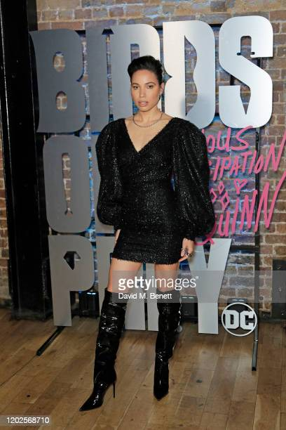 Jurnee SmollettBell attends the UK Photocall for Birds Of Prey at Harley Quinn's PopUp Roller Disco at The Steel Yard on January 28 2020 in London...
